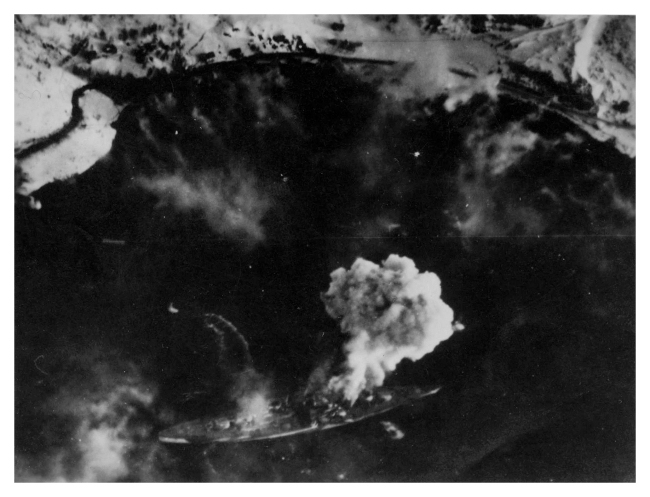 Aerial shot of the raid on the Tirpitz. Photo: Jack Price via Carl Berrington