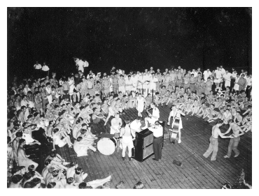 August 1945: members of SMITER's crew celebrate Victory over Japan with a dance on the flight deck. Photo: Courtesy of Terry Oxley